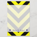 [ Thumbnail: Custom Name + Black & Yellow Chevron-Like Pattern Stationery ]