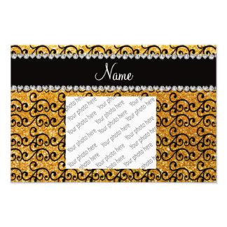 Custom name black yellow glitter swirls photo print