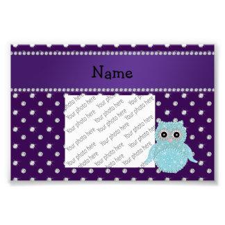 Custom name bling owl diamonds purple diamonds art photo