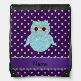 Custom name bling owl diamonds purple diamonds cinch bags