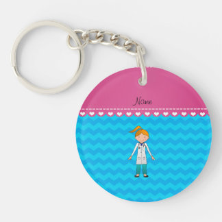 Custom name blonde girl doctor sky blue chevrons Double-Sided round acrylic keychain