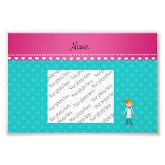 Custom name blonde girl doctor turquoise dots photo art