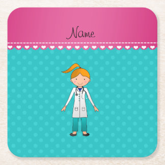 Custom name blonde girl doctor turquoise dots square paper coaster