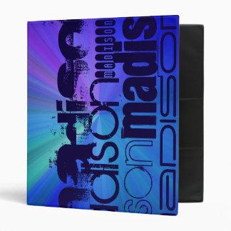 Custom Name; Blue & Abstract Purple, Green, Blue Vinyl Binder