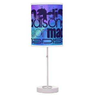 Custom name blue abstract purple green blue desk lamp - Table lamps for teens ...