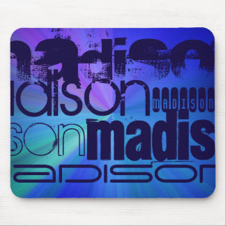 Custom Name; Blue & Abstract Purple, Green, Blue Mouse Pad
