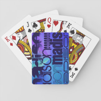 Custom Name; Blue & Abstract Purple, Green, Blue Playing Cards