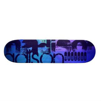 Custom Name; Blue & Abstract Purple, Green, Blue Skate Board