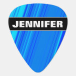 [ Thumbnail: Custom Name + Blue and Cyan Lines Pattern Guitar Pick ]