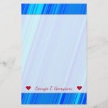 [ Thumbnail: Custom Name + Blue and Cyan Lines Pattern Stationery ]