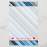 [ Thumbnail: Custom Name + Blue and Grey Stripes Stationery ]