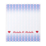 [ Thumbnail: Custom Name; Blue and Pink Diamond Shape Pattern Notepad ]