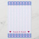 [ Thumbnail: Custom Name + Blue and Pink Diamond Shape Pattern Stationery ]