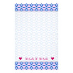 [ Thumbnail: Custom Name + Blue and Pink Diamond Shape Pattern Stationery ]