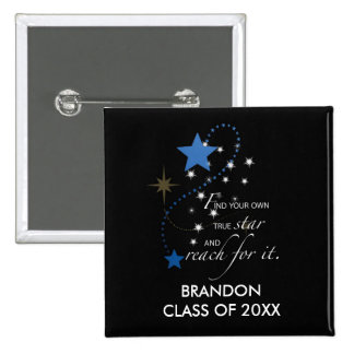 Custom Name Blue Brandon, Class of, Graduation Sta Pinback Button