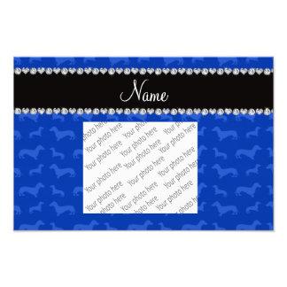 Custom name blue dachshund black heart stripe photo print