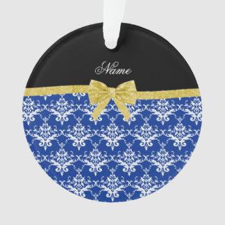 Custom name blue damask gold glitter bow