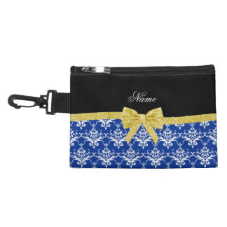 Custom name blue damask gold glitter bow accessory bags