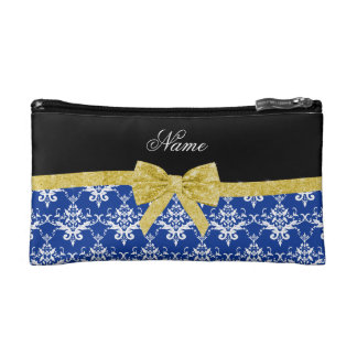 Custom name blue damask gold glitter bow cosmetic bags