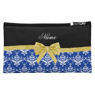 Custom name blue damask gold glitter bow cosmetic bag