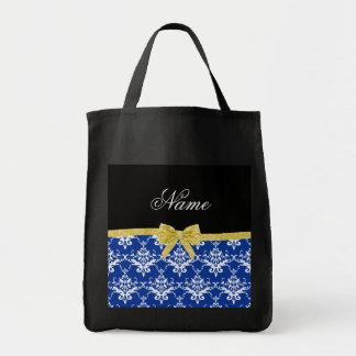 Custom name blue damask gold glitter bow bags