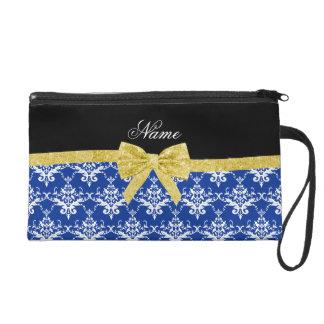 Custom name blue damask gold glitter bow wristlet
