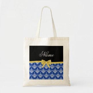 Custom name blue damask gold glitter bow bag