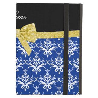 Custom name blue damask gold glitter bow iPad folio cases