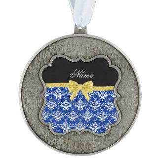 Custom name blue damask gold glitter bow scalloped ornament