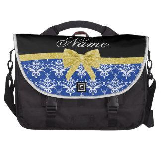 Custom name blue damask gold glitter bow laptop bags