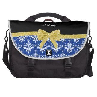 Custom name blue damask gold glitter bow laptop computer bag