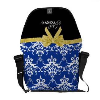 Custom name blue damask gold glitter bow courier bags