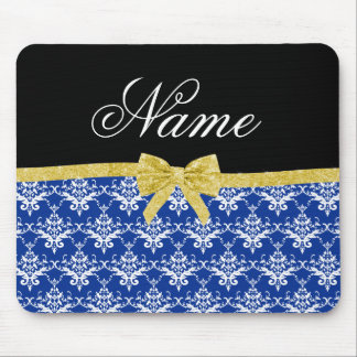 Custom name blue damask gold glitter bow mouse pads