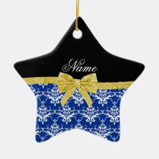 Custom name blue damask gold glitter bow christmas tree ornaments
