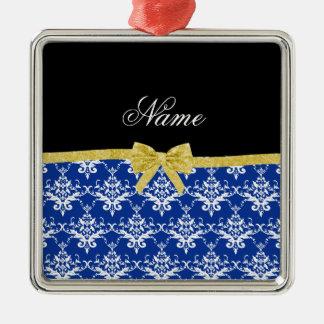 Custom name blue damask gold glitter bow christmas tree ornament