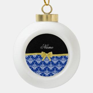 Custom name blue damask gold glitter bow ornament