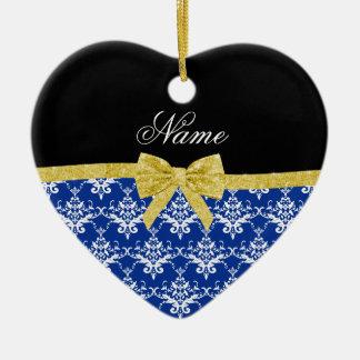 Custom name blue damask gold glitter bow christmas ornaments
