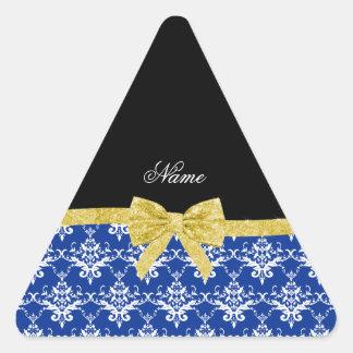 Custom name blue damask gold glitter bow stickers