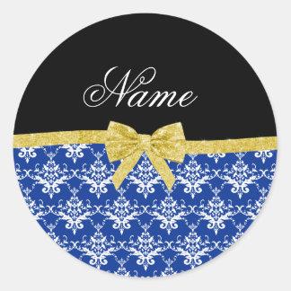 Custom name blue damask gold glitter bow round sticker
