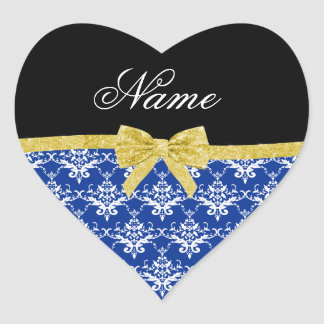 Custom name blue damask gold glitter bow sticker
