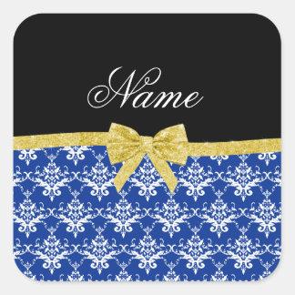 Custom name blue damask gold glitter bow square sticker