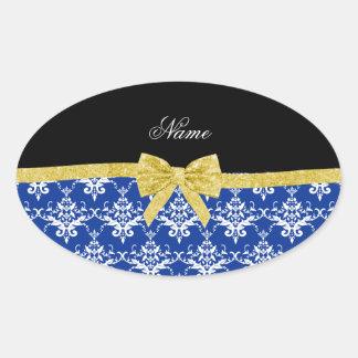 Custom name blue damask gold glitter bow oval sticker