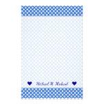 [ Thumbnail: Custom Name + Blue Dots/Circles Pattern Stationery ]