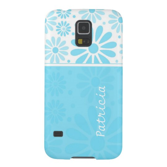Custom Name   Blue Floral Pattern Galaxy S5 Case