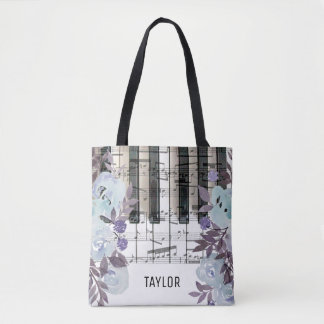 custom name blue flowers music notes piano tote bag