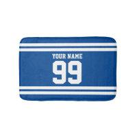 Custom name blue football jersey number striped bath mat