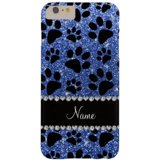 Custom name blue glitter black dog paws barely there iPhone 6 plus case