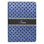 Custom name blue glitter black polka dots kindle 4 cover