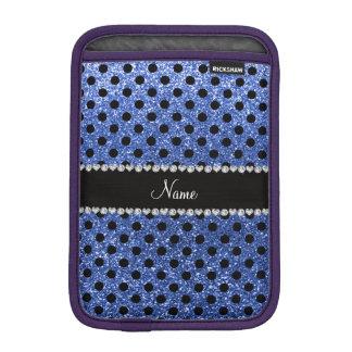Custom name blue glitter black polka dots sleeve for iPad mini
