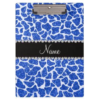 Custom name blue glitter giraffe print clipboard